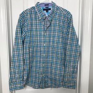 Tommy Hilfiger Blue / Green Button Down Logo Shirt